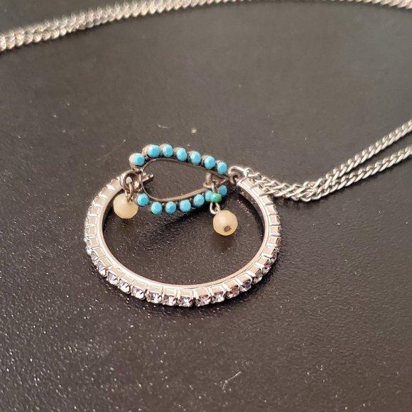 """22"""" Silver Tone Circle Pendant Necklace Artisan"""